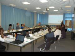 Rednerin trägt vor den Workshop-Teilnehmenden ihre Präsentation vor.