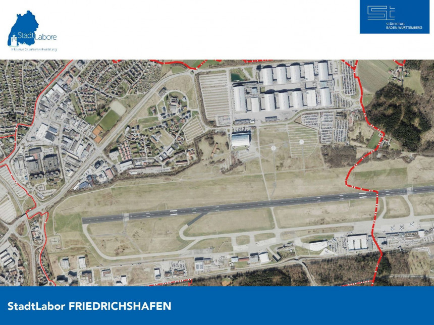 Luftbild des Quartiers in Friedrichshafen.