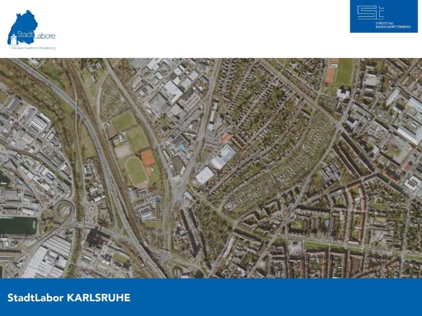 Ausschnitt aus einem Luftbild der Stadt Karlsruhe.