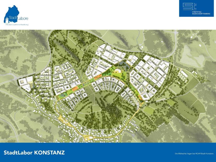 Luftbild des Konstanzer Quartiers.