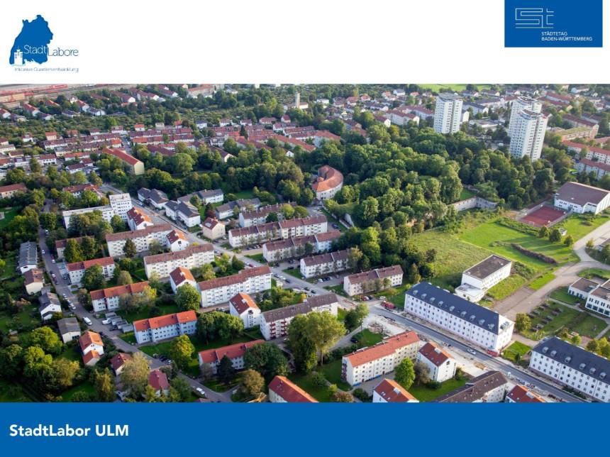 Luftbild des Ulmer Quartiers.
